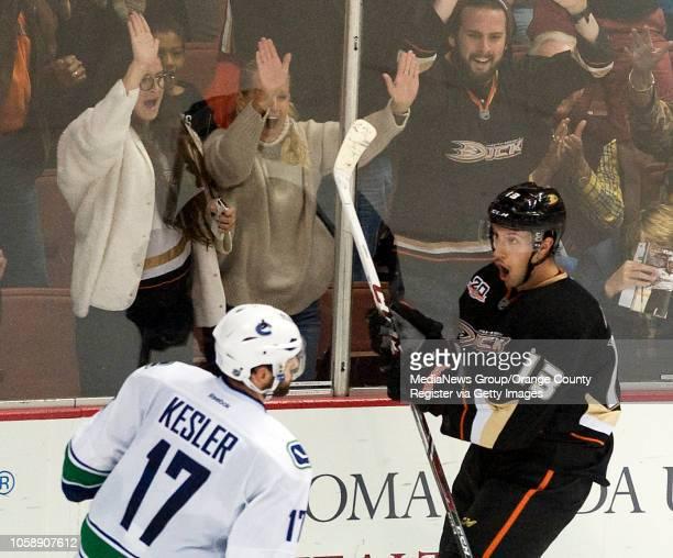 The Ducks' Nick Bonino celebrates his second period goal against the Canucks at Honda Center in Anaheim on November 10 2013