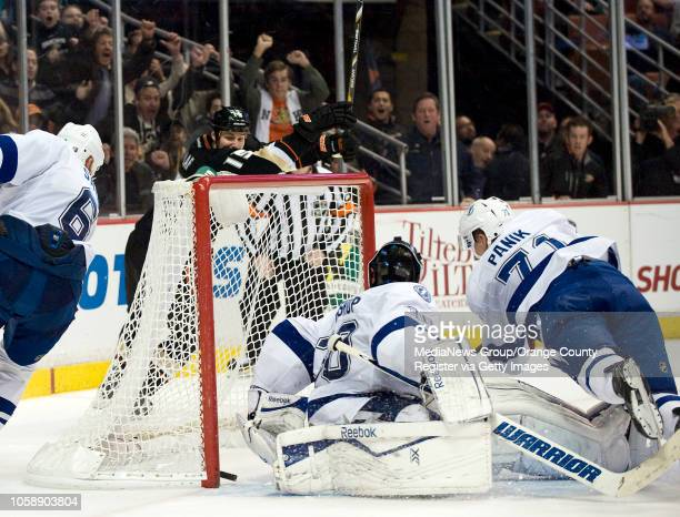 The Ducks' Ryan Getzlaf starts to celebrate his winning goal with five seconds left in overtime against the Tampa Bay Lightning at Honda Center in...