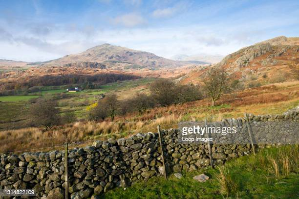The Duddon Valley and Harter Fell beyond near Seathwaite in the English Lake District National Park with Harter Fell beyond.