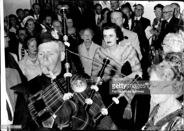 The Duke and Duchess of Argyll being Piped into the meeting of the CampbellClan held at 17 Bligh at in the room of the Royal Commonwealth Society The...