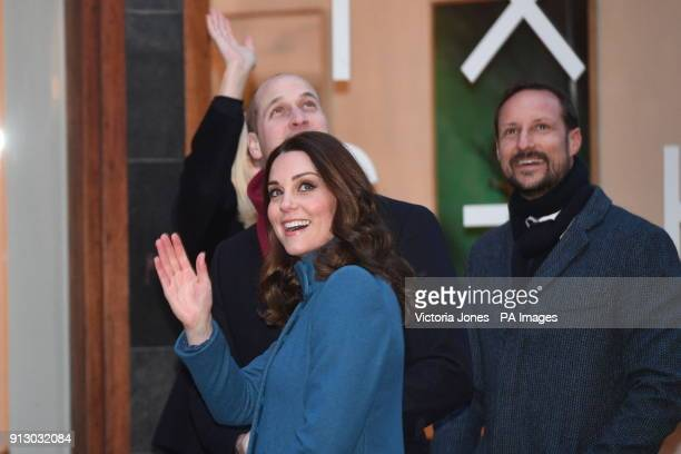 The Duke and Duchess of Cambridge and Crown Prince Haakon smile and wave to the waiting crowd as they arrive at the Entrepreneurs and startup...