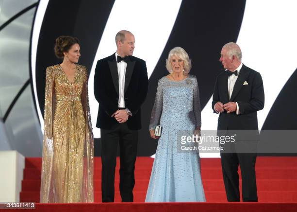 """The Duke and Duchess of Cambridge, and Prince Charles, Prince of Wales and Camilla, Duchess of Cornwall attend the """"No Time To Die"""" World Premiere at..."""