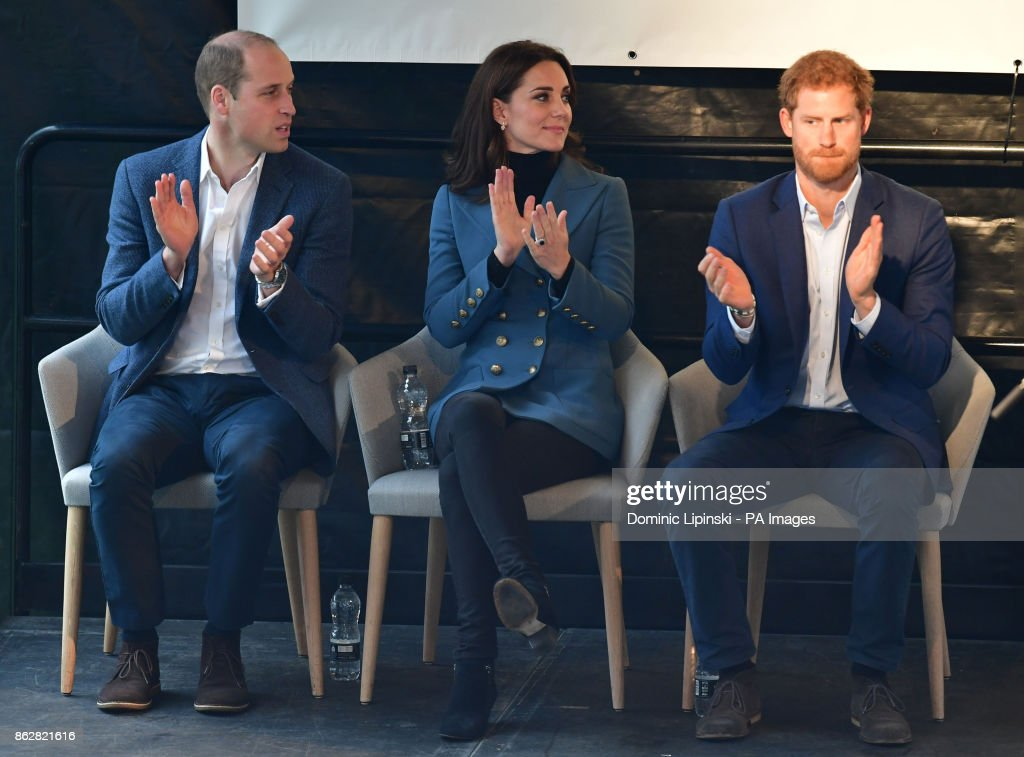 The Duke and Duchess of Cambridge and Prince Harry at West Ham UnitedÕs London Stadium, as they attend the graduation ceremony for more than 150 Coach Core apprentices.