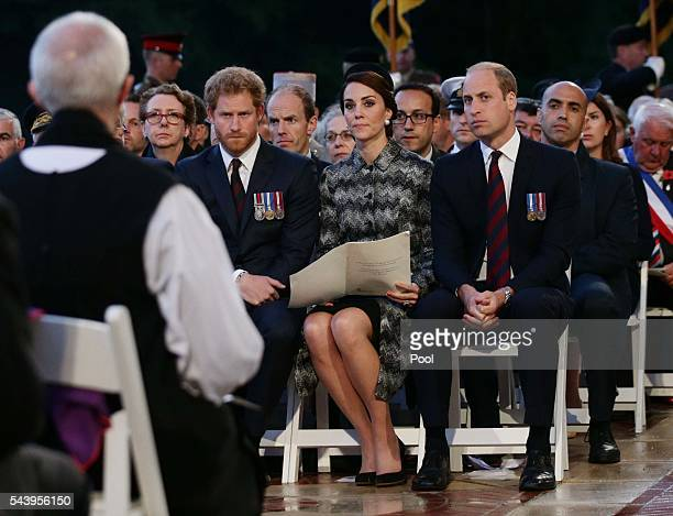 The Duke and Duchess of Cambridge and Prince Harry attend part of a militaryled vigil to commemorate the 100th anniversary of the beginning of the...