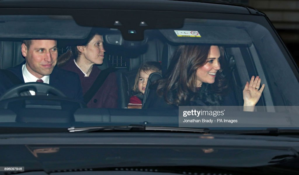 The Duke and Duchess of Cambridge and Princess Charlotte departing after the Queen's Christmas lunch at Buckingham Palace, London.