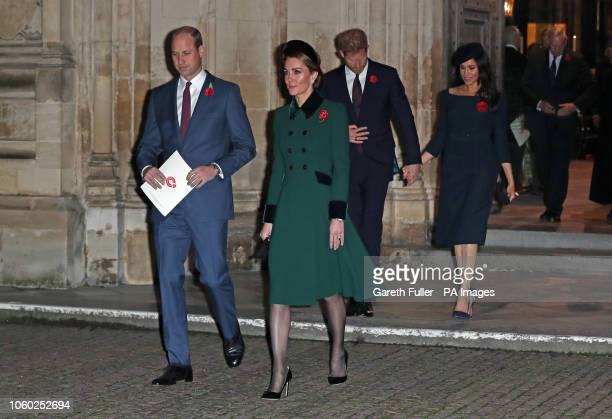 The Duke and Duchess of Cambridge and the Duke and Duchess of Sussex leave Westminster Abbey London after attending a National Service to mark the...