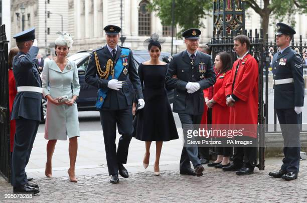 The Duke and Duchess of Cambridge and the Duke and Duchess of Sussex arrive at a service at Westminster Abbey London to mark the centenary of the...