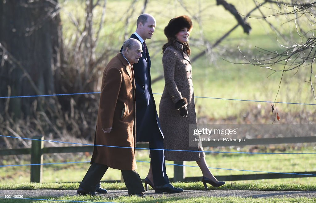 The Duke and Duchess of Cambridge and the Duke of Edinburgh attend a church service at St Mary Magdalene Church in Sandringham, Norfolk.