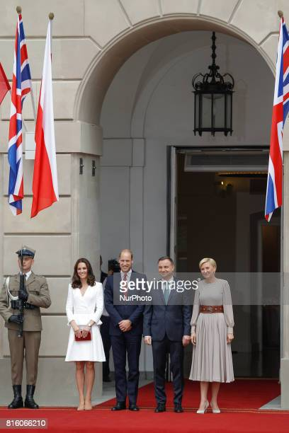 The Duke and Duchess of Cambridge are seen arriving at the presidential palace in Warsaw Poland on their visit with Polish presdient Andrzej Duda and...