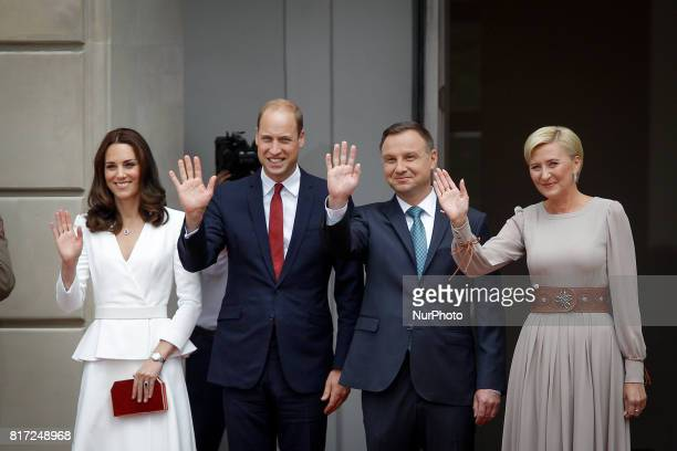 The Duke and Duchess of Cambridge are seen arriving at the presidential palace in Warsaw for a breakfast meeting with Polish president Andrzej Duda...