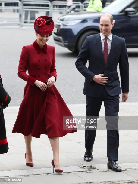 The Duke and Duchess of Cambridge arrive at the Commonwealth Service at Westminster Abbey London on Commonwealth Day The service is the Duke and...