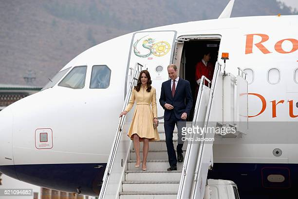The Duke and Duchess of Cambridge arrive into Paro International Airport for the first day of a two day visit to Bhutan on April 14 2016 in Paro...