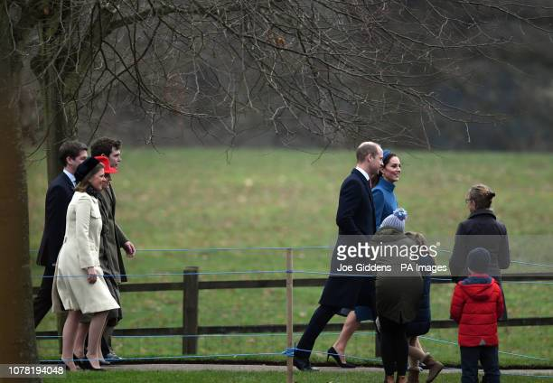 The Duke and Duchess of Cambridge arrive to attend a church service at St Mary Magdalene Church in Sandringham Norfolk