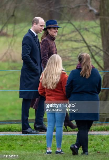 The Duke and Duchess of Cambridge arrive to attend a morning church service at St Mary Magdalene Church in Sandringham Norfolk