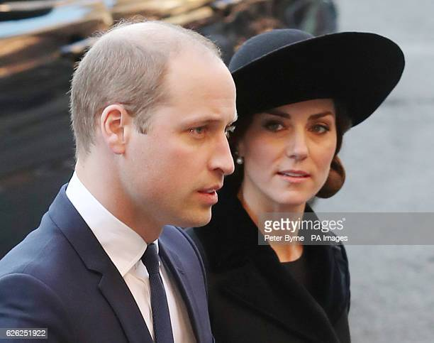 The Duke and Duchess of Cambridge arriving for a memorial service to celebrate the life of the sixth Duke of Westminster at Chester Cathedral Chester