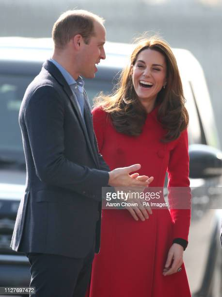 The Duke and Duchess of Cambridge arriving for their visit to Windsor Park Belfast as part of their two day visit to Northern Ireland