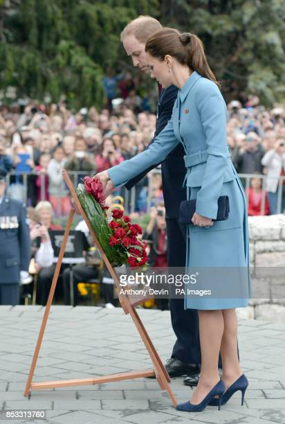 The Duke and Duchess of Cambridge attend a Wreath-laying and Commemoration at the War Memorial in Seymour Square, Blenheim, during their official...