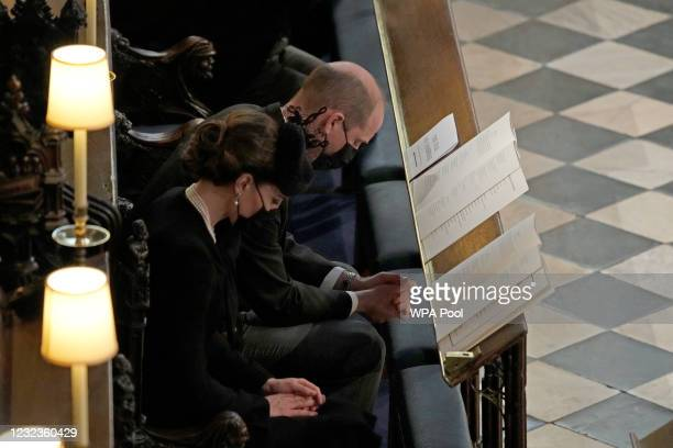 The Duke and Duchess of Cambridge attend the funeral of Prince Philip, Duke of Edinburgh, at St George's Chapel at Windsor Castle on April 17, 2021...