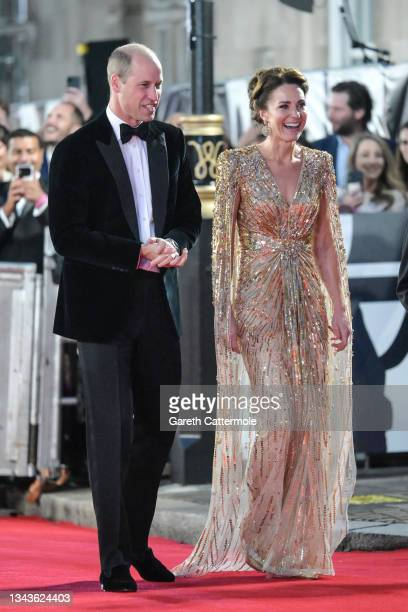 """The Duke and Duchess of Cambridge attend the """"No Time To Die"""" World Premiere at Royal Albert Hall on September 28, 2021 in London, England."""