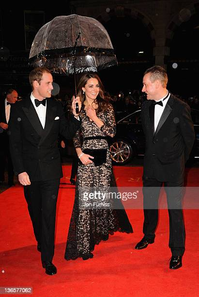 """The Duke and Duchess of Cambridge attend the """"War Horse"""" UK film premiere at the Odeon Leicester Square on January 8, 2012 in London, England."""