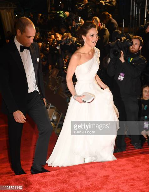 The Duke and Duchess of Cambridge attends the EE British Academy Film Awards at Royal Albert Hall on February 10 2019 in London England