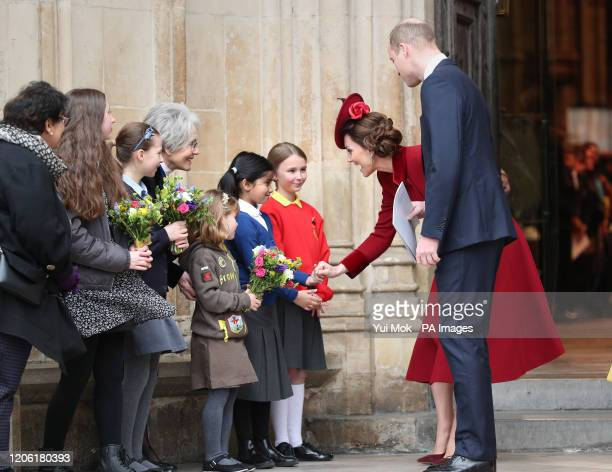 The Duke and Duchess of Cambridge eaving after the Commonwealth Service at Westminster Abbey London on Commonwealth Day The service is the Duke and...