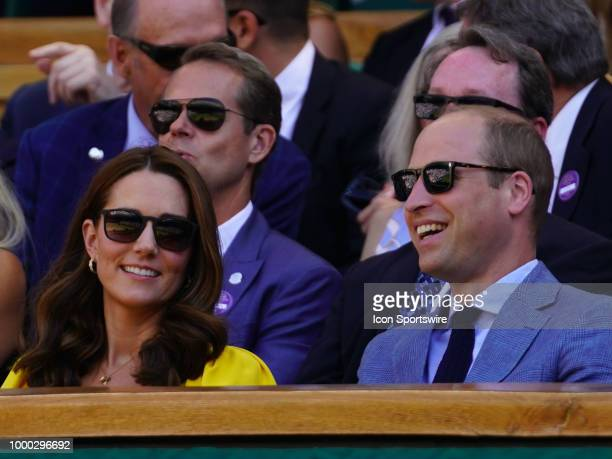 The Duke and Duchess of Cambridge enjoying the men's singles final on July 15 2018 at the Wimbledon Championships played at the AELTC in London...