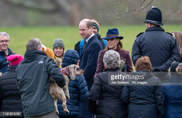 The Duke and Duchess of Cambridge leave after attending a morning church service at St Mary Magdalene Church in Sandringham Norfolk