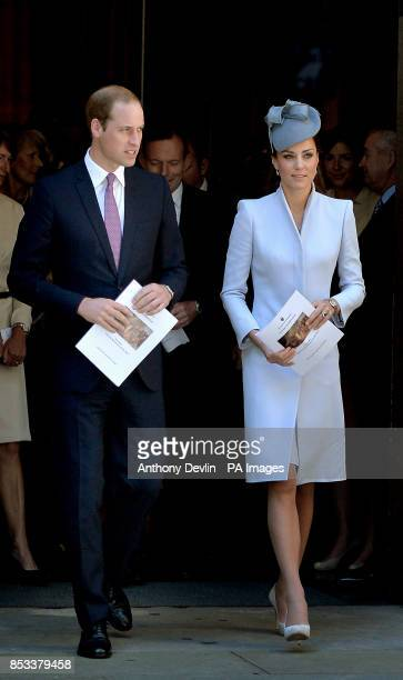 The Duke and Duchess of Cambridge leave the Easter Sunday Church Service at St Andrew's Cathedral Sydney during the fourteenth day of their official...
