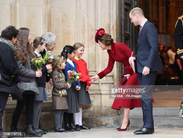 The Duke and Duchess of Cambridge leaving after the Commonwealth Service at Westminster Abbey, London on Commonwealth Day. The service is the Duke...