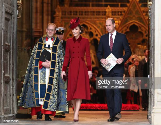 The Duke and Duchess of Cambridge leaving after the Commonwealth Service at Westminster Abbey London on Commonwealth Day The service is the Duke and...