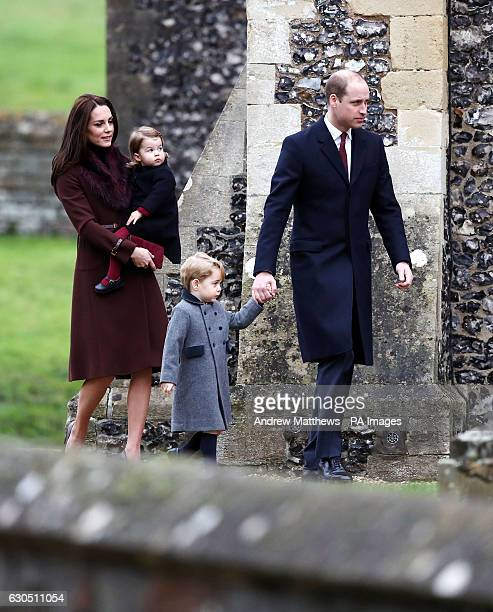 The Duke and Duchess of Cambridge Prince George and Princess Charlotte arrive to attend the morning Christmas Day service at St Mark's Church in...