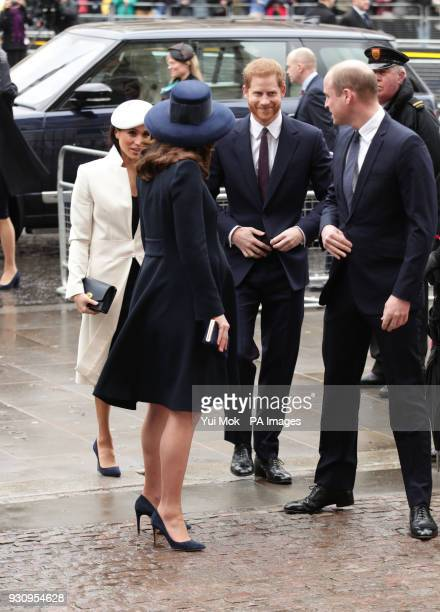 The Duke and Duchess of Cambridge Prince Harry and Meghan Markle arrive for the Commonwealth Service at Westminster Abbey London