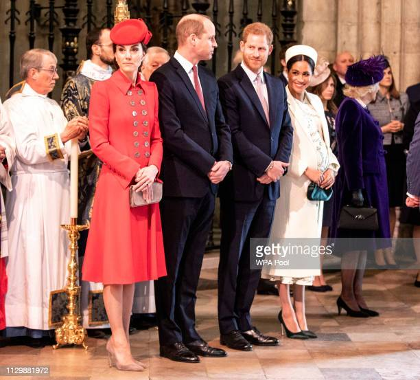 The Duke and duchess of Cambridge stand with the duke and Meghan Duchess of Sussex at Westminster Abbey for a Commonwealth day service on March 11...