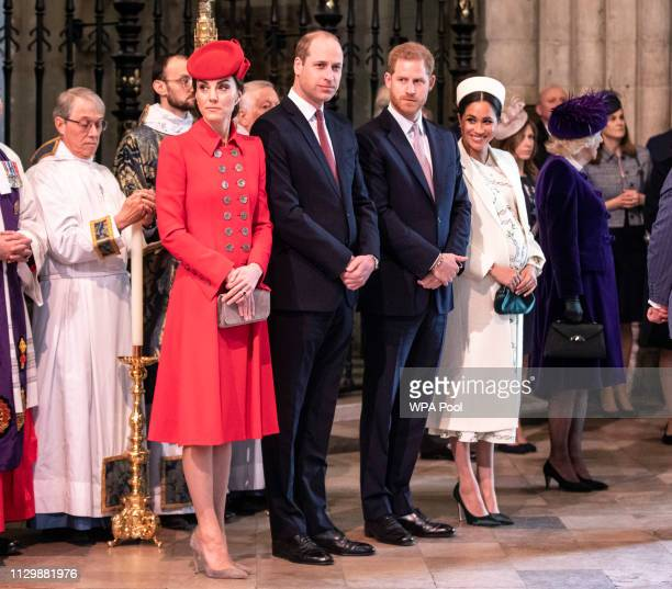 The Duke and Duchess of Cambridge stand with the duke and Meghan, Duchess of Sussex at Westminster Abbey for a Commonwealth day service on March 11,...