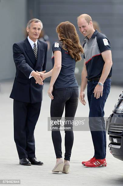 The Duke and Duchess of Cambridge visit the Land Rover BAR at the America's Cup World Series on July 24 2016 in Portsmouth England