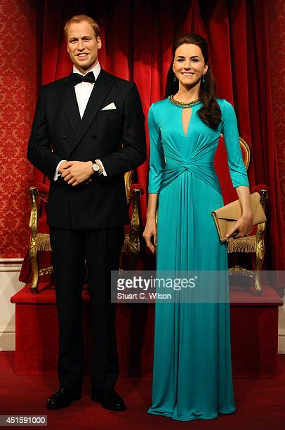 The Duke and Duchess of Cambridge waxworks are seen on display after having been given a make over at Madame Tussauds on July 2 2014 in London England