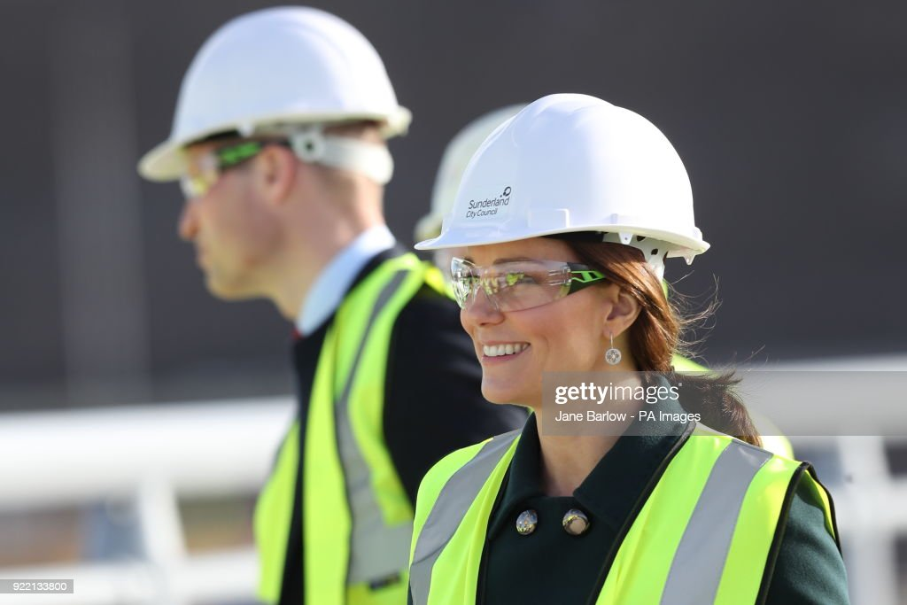 The Duke and Duchess of Cambridge wear safety helmets and high visibility vests during a visit to the Northern Spire bridge across the River Wear in Sunderland.