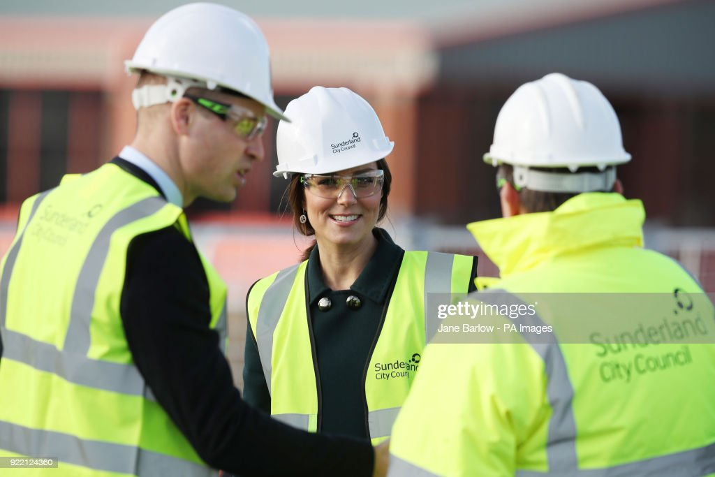 The Duke and Duchess of Cambridge wear safety helmets during a visit to the Northern Spire bridge across the River Wear in Sunderland.