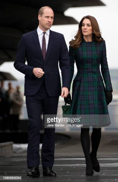 The Duke and Duchess of Cambridge who are known as the Duke and Duchess of Strathearn during a visit to officially open the VA Dundee Scotland's...