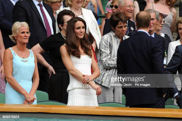 The Duke and Duchess of Cambridge with Billie Jean King Ilana Kloss and Gill Brook wife of All England Chairman Philip Brook in the Royal Box on...