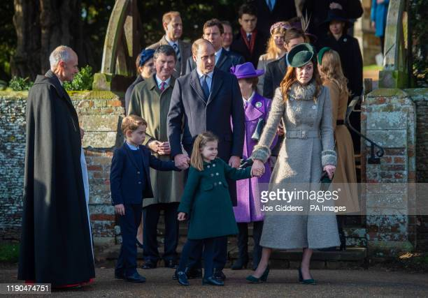 The Duke and Duchess of Cambridge with Prince George and Princess Charlotte after attending the Christmas Day morning church service at St Mary...