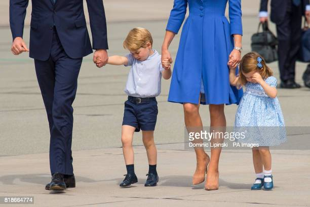 The Duke and Duchess of Cambridge with Prince George and Princess Charlotte leave Warsaw Poland as they head to Germany