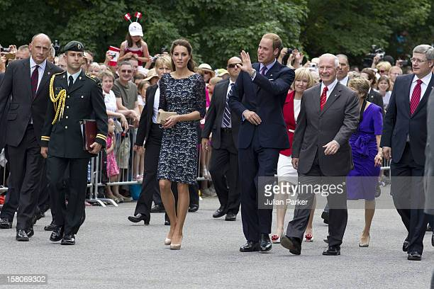 The Duke And Duchess Of Cambridge, With Sharon Johnston And Governor General David Johnston, Outside The Official Residence Of The Governor General...