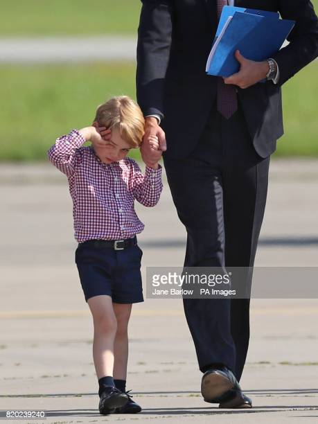The Duke and Duchess of Cambridge with their children Prince George and Princess Charlotte depart from Hamburg Airport on the last day of their...
