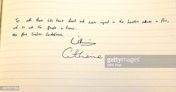 The Duke and Duchess of Cambridge's message in the book of condolences after the terror attacks which killed at least 129 people in Paris at the...