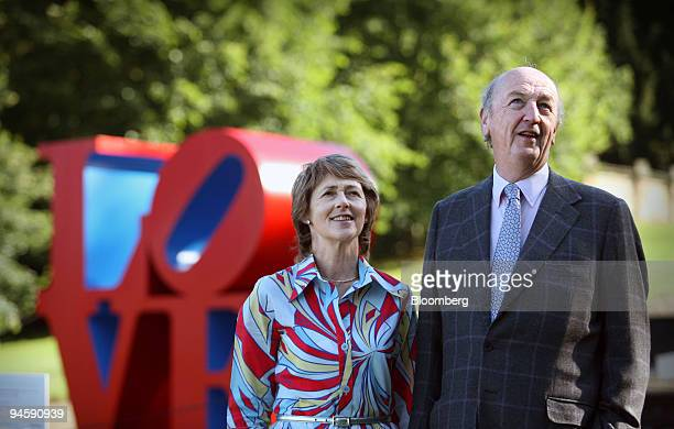 The Duke and Duchess of Devonshire admire artworks in the grounds of Chatsworth House in Derbyshire, U.K., on Friday, September 8, 2006.