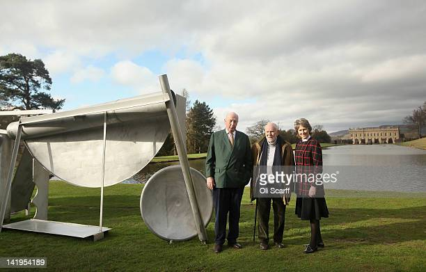 The Duke and Duchess of Devonshire are joined by sculptor Sir Anthony Caro in the grounds of Chatsworth House to view the 'Caro at Chatsworth'...