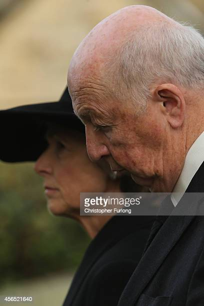 The Duke and Duchess of Devonshire attend the funeral of Deborah Dowager Duchess of Devonshire at St Peters Church Edensor on October 2 2014 in...