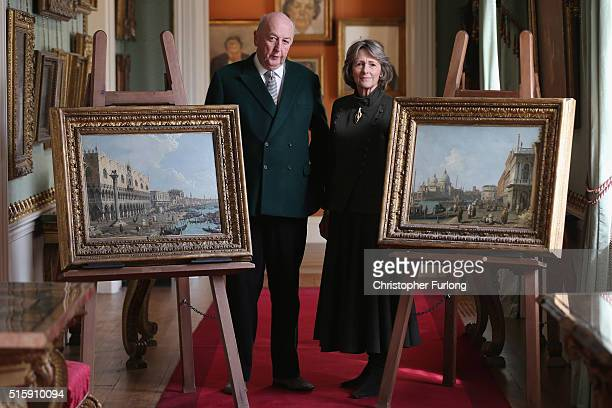 The Duke and Duchess of Devonshire pose in the West Sketch Gallery with two Canaletto paintings that have not been on public display in recent memory...